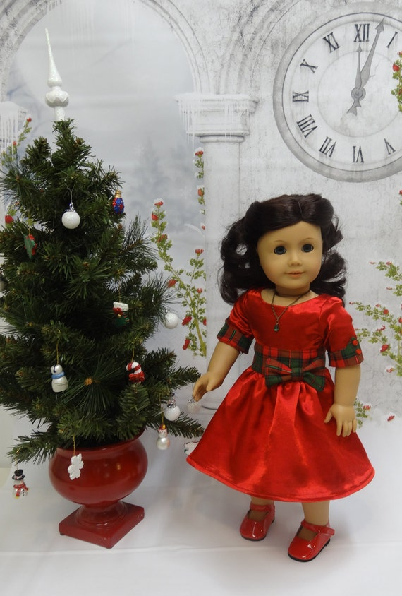 Christmas Tartan- party dress for American Girl doll