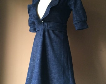 Cute - Handmade Dress Coat Jacket in Dark Denim with Short Balloon Sleeves - Made to Order