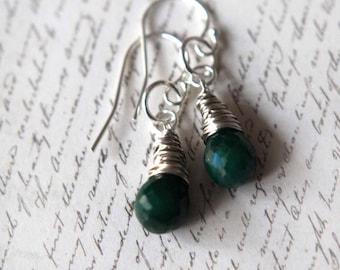 Emerald Drop Earrings, Emerald Green, Emerald Birtstone, Emerald Tear Drop Dangles, Sterling Silver, May Birthstone