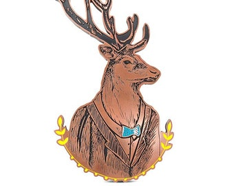 Hipster Distinguished Deer Plaque With bowtie and suit 15x 26 inches
