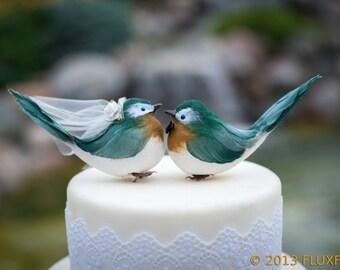 Chipper Chickadee Wedding Cake Topper in Deep Green and Goldenrod: Bride & Groom Love Bird Cake Topper