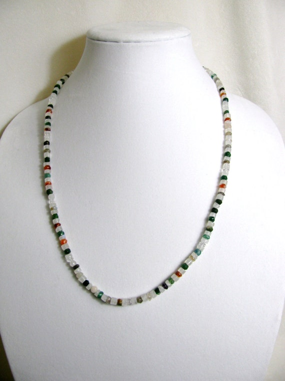 Gemstone and Moonstone Beaded Necklace RKS367 RKMixables Silver Collection