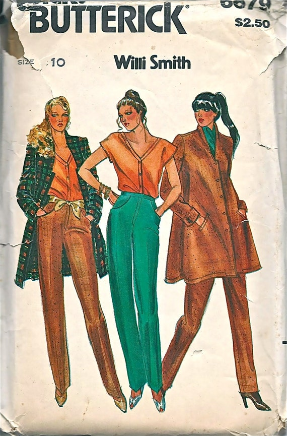 Butterick 6679 1970s Willi Smith Misses Jacket Top And Pants