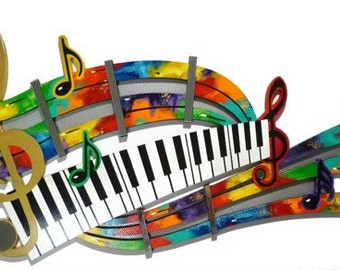 SALE!! Music Wall Art - Unique Colorful Abstract Music Notes & Piano Keys Mixed Media Wall Sculpture by Alisa R Tarpley, Home decor,