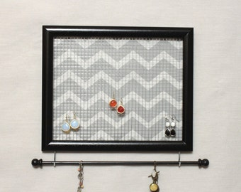 Jewelry Holder- Grey and White Chevron Stripes- Upcycled 8x10 Picture Frame