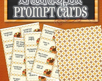 Thanksgiving Prompt Cards/Conversation Starters - INSTANT DOWNLOAD