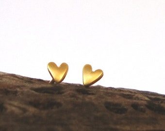 Heart Earrings Tiny Heart Stud Earrings sterling silver gold plated Heart Jewelry dainty earrings minimal earrings mini studs Christmas gift