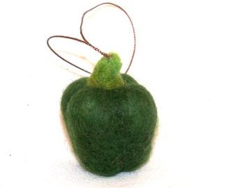 Felt Christmas Miniature Ornament Needle Felted Green Prpper