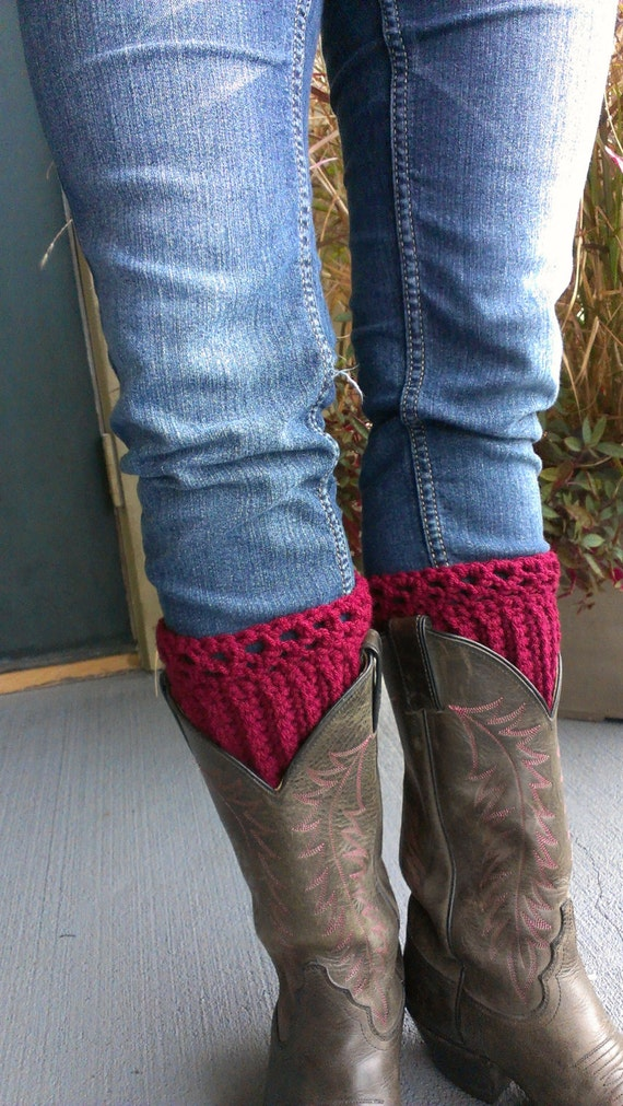 Items Similar To Sale! Burgundy Red Crochet Boot Cuffs ...