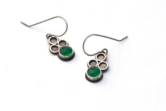 Rose Cut Green Onyx and Sterling Silver Earrings, Eyelet Lace Collection