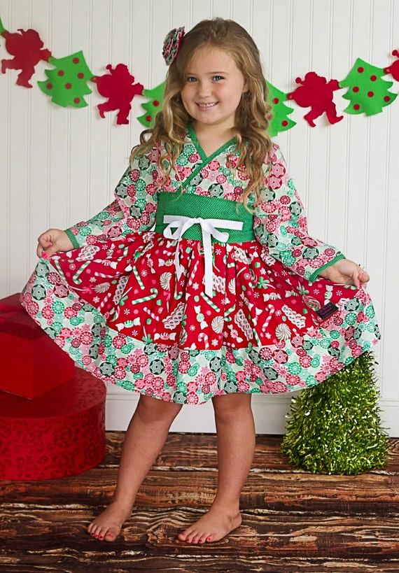 Girls Christmas Dress Kimono Dress With Obi Sash