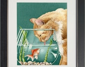 Something's Fishy - archival watercolor print by Tracy Lizotte