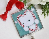 "christmas ornament - limited edition - christmas - polar bear - candy cane - love - ""CHRISTMAS LOVE !"""