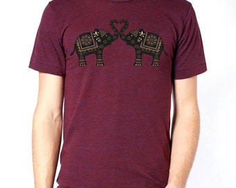 Elephants t-shirt, Cranberry mens t-shirt, Ethnic Elephants, Love, Heart, Father's Day Gift