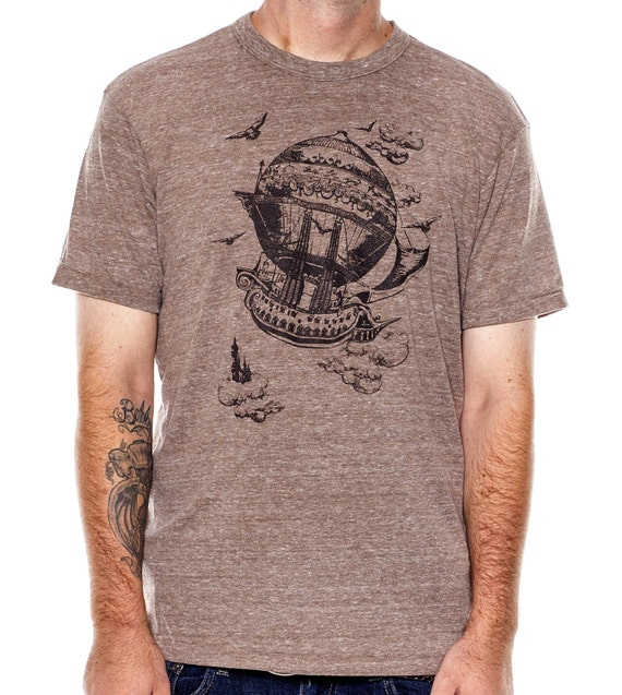 Airship Men's t-shirt, Vintage Steampunk T-shirt, Eco Brown, Mens graphic tee, Father's Day Gift