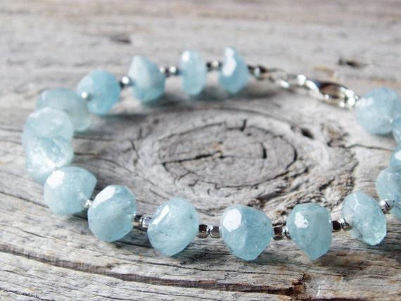 Faceted Aquamarine Nugget Bracelet