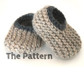 Instant Download PDF Knitting Pattern - Wool Baby Slippers, Sizes 0-18 Months, Instructions for 4 Sizes, Booties, Crib Shoes