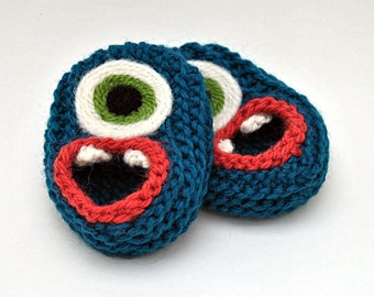 Wool Baby Monster Slippers - Dark Teal, Wool Baby Slippers, Crib Shoes, Booties