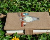 Note Book A6 size with Hand Painted Totoro pattern on handloom fabric Cover