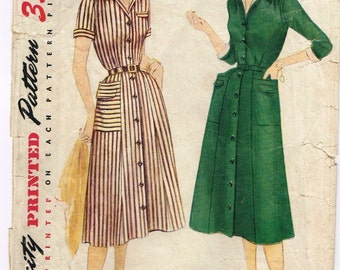 Original 1950's Shirtwaist Dress Pattern with Detachable Dickey and Cuff Size 14 32/26.5/35 Simplicity 4146