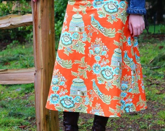 Woman's Long A Line Skirt, Amy Butler,Belle, Royal Garden Clay, Custom skirt, simple a line, knee length, skirt size women's 4-22