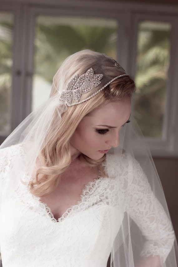 Juliet Bridal Wedding Cap Veil, Rhinestone Embellished, Soft Illusion Tulle with Beaded Crystal Leaf Adornments, Style: Abiding Love #1431