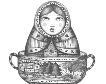 Miss Russian Caravan Tea Lady - Original Pencil Drawing