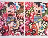 Rimma / 2 Big prints - Folk art prints - flowers / blue/ red/ white/ girl print / woman drawing print  Portrait drawing - ART PRINT size A3