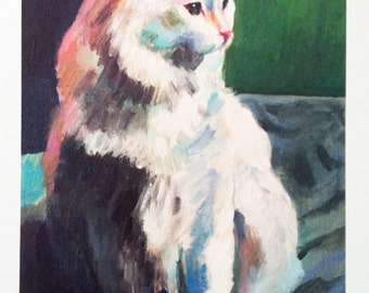 Cat - paper print - pet portrait ART PRINT - cat paintings prints