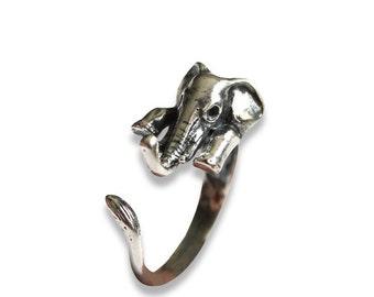 Elephant Ring Oxidized Silver Lucky Elephant Ring 284
