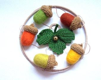 Baby crib mobile - nursery mobile - Woodland nursery mobile 5 big acorns green leaf decor felted wool crochet pastel