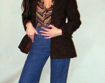 Vintage 70's Speckled Brown Wool Blazer