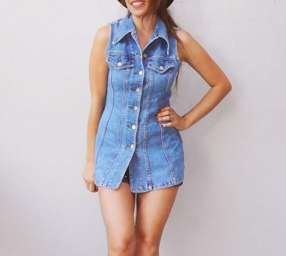 denim mini dress / vintage 90s grunge dress / denim sleeveless