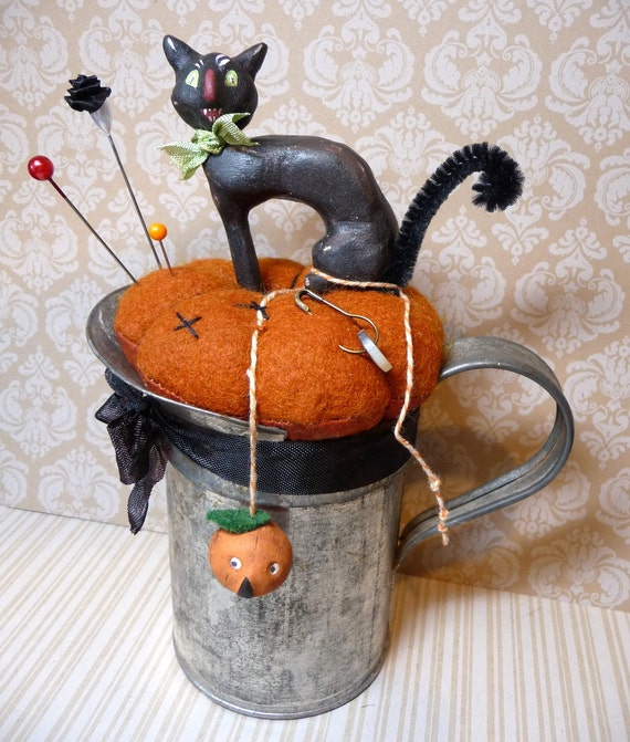 Vintage Style SPOOKY BLACK CAT in Antique Tin Pincushion Halloween Folk Art