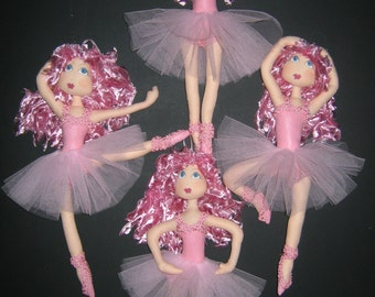 ePattern - Ballet Class - Cloth Doll Pattern - a set of painted ballerina dolls to make and hang