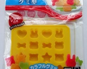 Japanese Silicone Gummy / Jelly / Chocolate Mold / Mould To Make Bear, Cat, Bunny Rabbit Face, Heart, Apple, Bone, Star & Flower Shapes