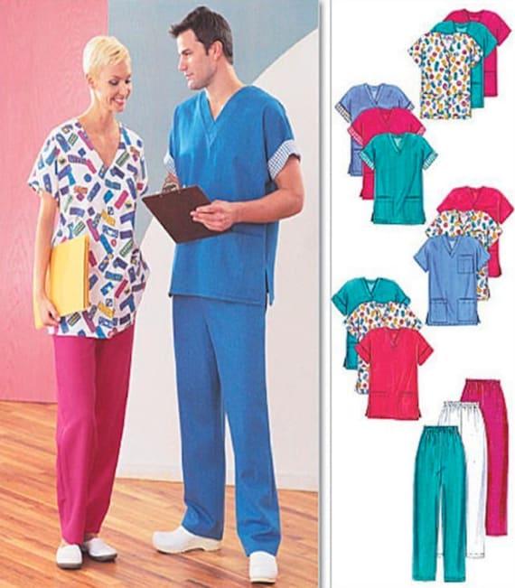 Plus Size Scrubs Sewing Pattern Unisex Scrub Tops Pants