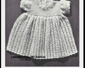 Crochet Baby Dress Pattern - Infant Size - PDF 66B566 - Vintage 60s Coats & Clarks