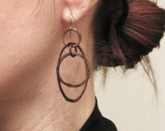 Copper Hoop Earrings,  Modern Swivel - handmade copper jewelry