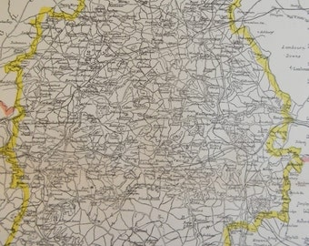 1896 English County Map - Wiltshire - Vintage Antique Map Great for Framing 100 Years Old