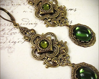 Renaissance Earrings, Olive, Green, Queen, Tudor, Costume, Medieval, Ren Faire, SCA Garb, Borgias, Bridal Jewelry, Avalon