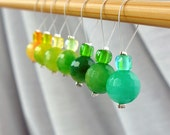 In the Citrus Groves - Seven Snag Free Stitch Markers Set - Fits Up To 6.5mm (10.5 US) - One Of A Kind