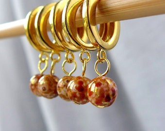 SALE - The Leopard King - Five Handmade Stitch Markers - 8.0mm (11 US) / 10.0mm (15 US) - Limited Edition