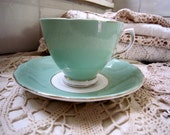 Vintage Mint Green China Tea Cup and Saucer