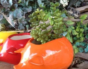 Pig Planter   Ceramic Glazed from a Vintage mold design -Orange