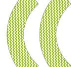 Lime Green Chevron Cupcake Wrapper