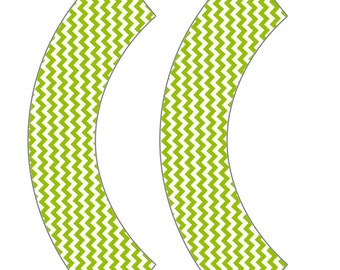 Lime Green Chevron Cupcake Wrapper
