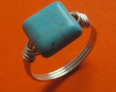 Sterling Silver and Square Howlite Turquoise Wire Wrapped Ring