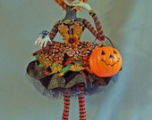 "Flora goes Trick or Treating 18"" Cloth Doll One of a Kind"