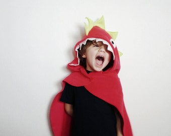 Red Dinosaur Cape, Halloween Costume, Dress Up Cape, Dinosaur Costume, Red Dragon Cape, Pretend Play Costume